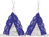 Fleur Du Mal Charlotte Polka-dot Satin And Lace Soft-cup Triangle Bra - Royal blue