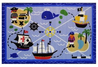 "Zoomie Kids Corina Buried Treasures Blue Area Rug Rug Size: 3'3"" x 4'10"""