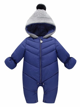 Happy Cherry Baby Boys Girls Winter Warm Rompers One Piece Snowsuit Thicker Hooded Jumpsuits for Newborn Infants Navy Blue 6-12 Months