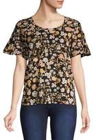 Lord & Taylor Floral-Print Cotton Tee