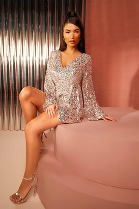 boohoo Petite Sequin Plunge Flare Sleeve Skater Dress