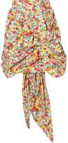 Ronald Van Der Kemp - Ruched Floral-print Cotton Mini Skirt - Yellow