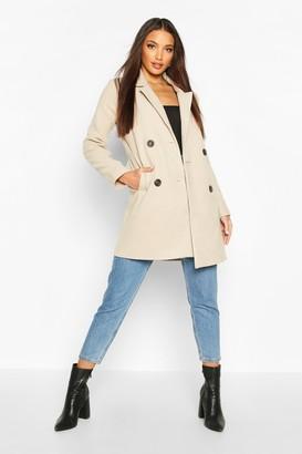 boohoo Double Breasted Slim Fit Wool Look Coat