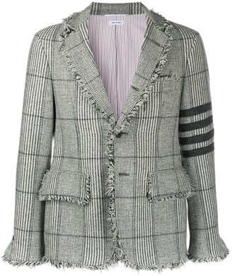 Thom Browne unconstructed 4-Bar frayed check jacket