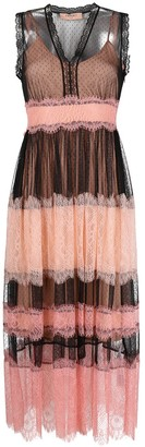 Twin-Set Sheer-Panelled Mid-Length Dress