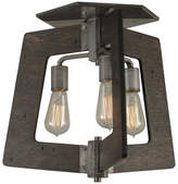 Varaluz Lofty 3-Light Semi-Flush Ceiling Light, Faux Zebrawood & Steel Finish
