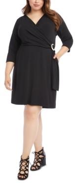 Karen Kane Plus Size Buckle-Detail Faux Wrap Dress