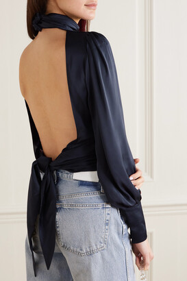 Orseund Iris Night Out Open-back Ruched Satin Blouse - Blue