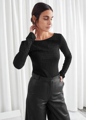 And other stories Fitted Scoop Back Jacquard Top