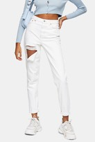 Topshop Ecru Ripped Mom Tapered Jeans