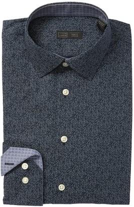 14th & Union Scatter Print Stretch Trim Fit Dress Shirt