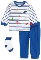 Little Me Patch T-Shirt, Jogger Pants & Socks Set