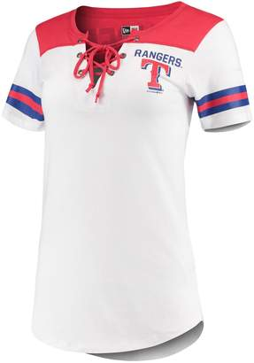 New Era Women's 5th & Ocean by White/Red Texas Rangers Baby Jersey Lace-Up V-Neck T-Shirt