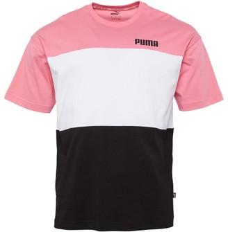 Puma Mens Celebration Colour Block T-Shirt Cotton Black