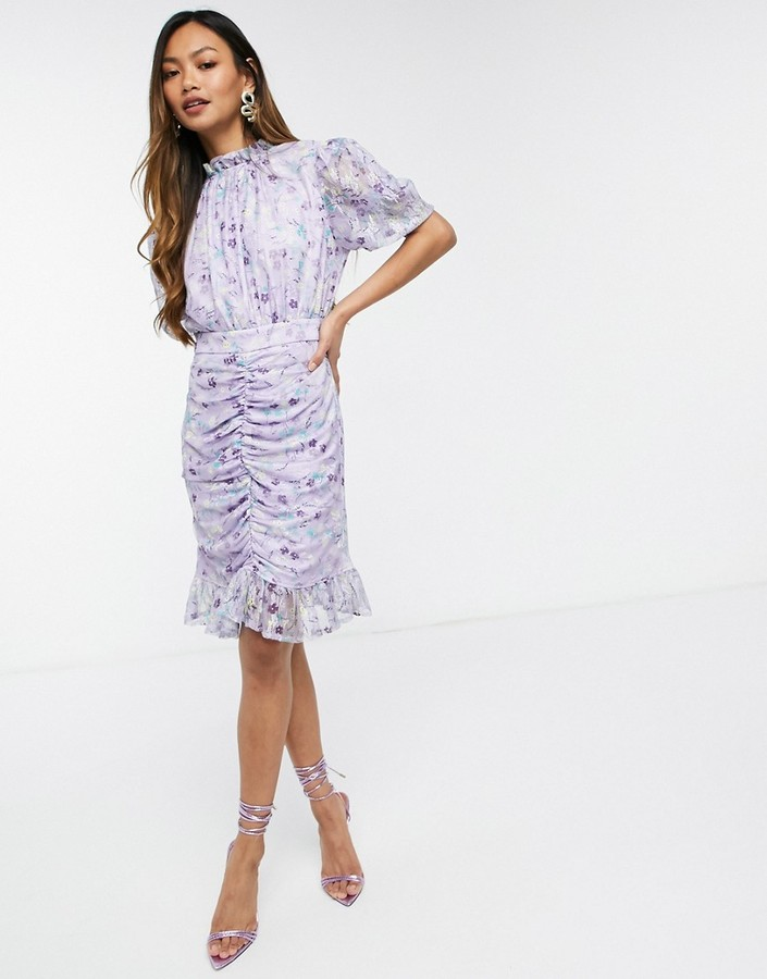 Thumbnail for your product : Forever U mini dress with mesh ruching in lilac floral
