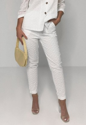 Missguided White Co Ord Broderie Anglaise Cigarette Pants