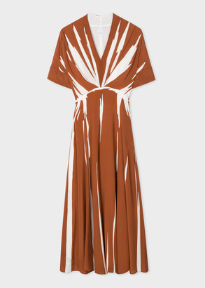 Paul Smith Women's Rust Abstract Stripe Print Silk V-Neck Dress