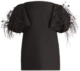 Valentino Off-The-Shoulder Ostrich Feather Wool & Silk Cocktail Dress