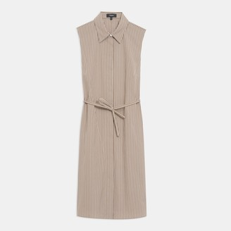 Theory Sleeveless Belted Shirtdress in Pinstripe Poplin
