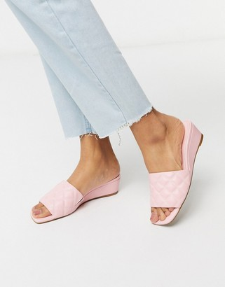 Asos DESIGN Thriller quilted demi wedge in pink