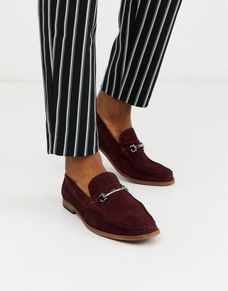Moss Bros suede loafer with buckle in burgundy