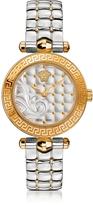 Versace Micro Vanitas Stainless Steel and PVD Gold Plated Women's Watch w/Baroque Pattern Dial