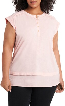 Vince Camuto Mixed Media Layered Henley Top