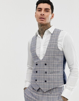Gianni Feraud skinny fit linen blend check waistcoat double breasted scoop-Blue