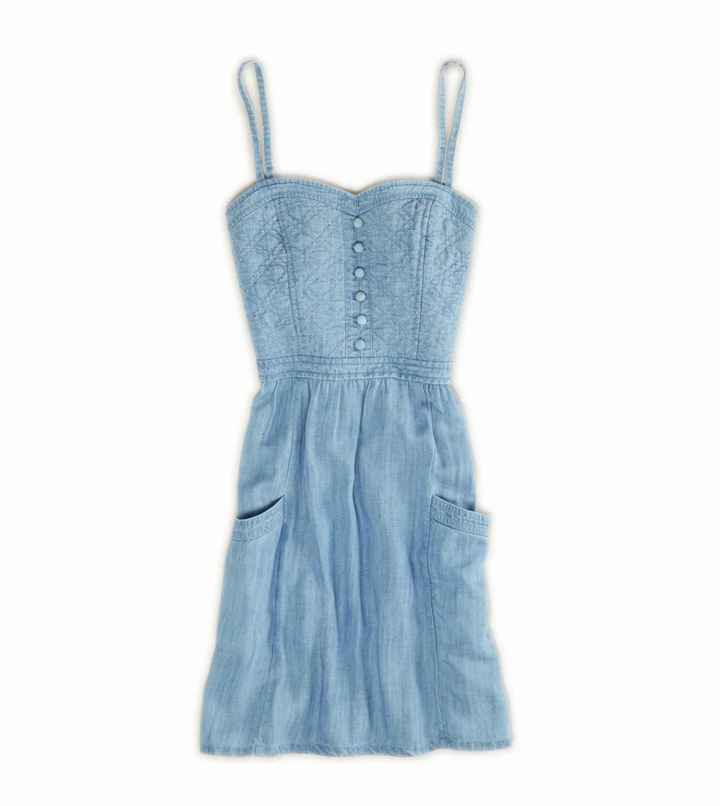 American Eagle AE Chambray Quilted Corset Dress