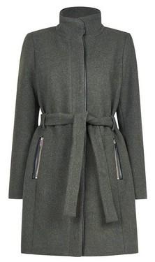 Dorothy Perkins Womens Only Dark Green Wool Button Coat, Green