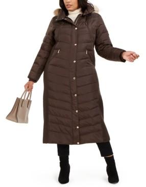 Michael Kors Michael Plus Size Faux-Fur-Trim Maxi Puffer Coat