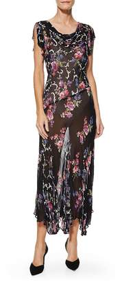 Vintage 1990s Black Chiffon Floral Maxi Dress