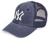 American Needle Men's 'New York Yankees - Raglan Bones' Mesh Trucker Cap - Blue