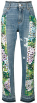 Dolce & Gabbana studded hydrangea jeans - women - Cotton/Calf Leather - 38