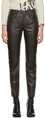 MM6 MAISON MARGIELA Brown Leather Skinny Trousers