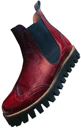 Ganni Burgundy Patent leather Ankle boots