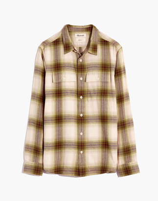 Madewell Brushed Twill Perfect Shirt in Bayfront Plaid