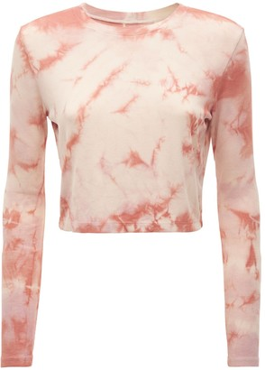 YEAR OF OURS Tie Dye Cropped Long Sleeve T-shirt