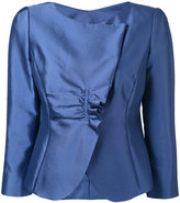 Armani Collezioni metallic ruched blazer - women - Silk/Cotton/Polyester/Spandex/Elastane - 42