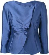 Armani Collezioni metallic ruched blazer - women - Silk/Cotton/Polyester/Spandex/Elastane - 44