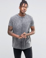 Asos Longline T-Shirt With Raw Curved Hem And Gray Acid Wash
