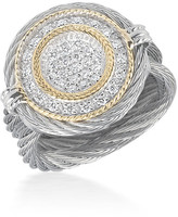 Alor 18K Gold Plated Stainless Steel Grey Diamond Ring - Size 6.5 - 0.34 ctw