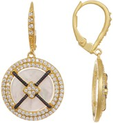 Freida Rothman 14K Gold Plated Sterling Silver Crisscross Mother of Pearl CZ Pave Halo Earrings