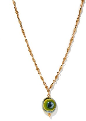 Tohum Evil Eye 24kt Gold-plated Pendant Necklace - Green Gold