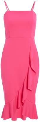 Dorothy Perkins Womens *Quiz Pink Square Neck Midi Bodycon Dress, Pink
