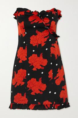 De La Vali Dolly Strapless Ruffled Floral-print Crepe Mini Dress - Black