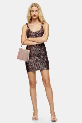 Topshop Pink Sequin Scoop Mini Dress