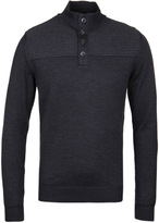 Boss Balcos Charcoal Grey Extra Fine Merino Knitted Sweater