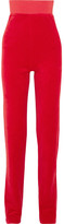 Vetements Juicy Couture Embellished Cotton-blend Velour Track Pants - Red