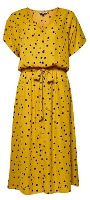Dorothy Perkins Womens Billie & Blossom Tall Yellow Spot Print Shirt Midi Dress